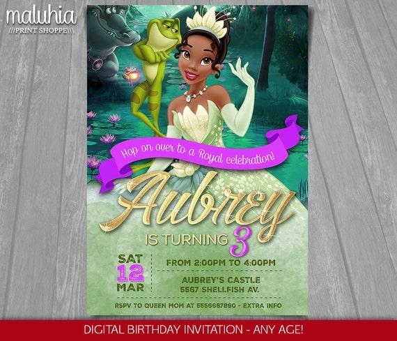 Princess and the Frog Invitation Disney Princess Tiana – Princess Tiana Birthday Invitations