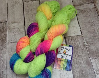 Hand dyed yarn sock merino/nylon Superwash 'Bright Enough' sock yarn/ wool /Uk indie dyer / knitting / crochet / sock weight/ neon