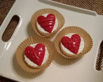 White Chocolate Covered Oreos with Large Red Hearts