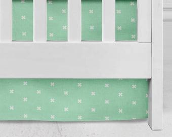 Mint Cross Crib Skirt, baby bedding, nursery, bright nursery, baby girl, baby boy