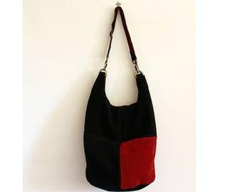 suede purse, black red handbag with adjustable shoulder strap, BBagdesign