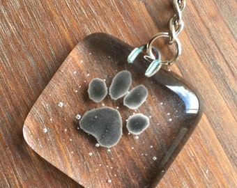 fused glass keyring, paw print, keepsake, gift, christmas gift, stocking filler,