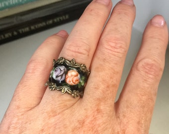 Antique Art Deco sterling silver &, enamel floral cigar band ring, Nature, 1920s, Jewelry, Jewellery, Gift, Keepsake, Heirloom, Friendship