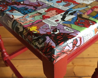 Comic furniture - upcycling - Spiderman - stool - side table