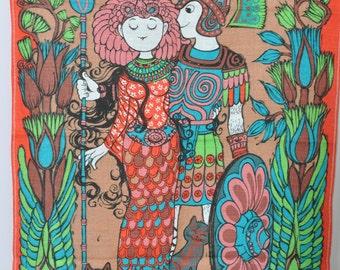 Belinda Lyon Antony and Cleopatra Tea towel Wall hanging Oxfam Orange yellow1970s