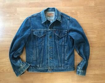 Vintage Levi Strauss Denim Trucker Jacket / Trucker Jean Jacket / oversized jacket / 90s Denim Jacket  made in USA mens medium women's large