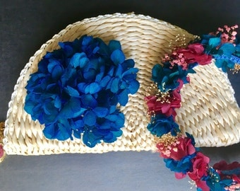 Woven straw with fabric flower bag