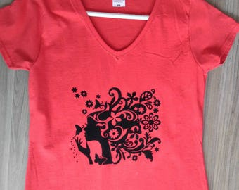 Red stamped T-shirt
