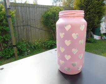 Pastel Pink Transparent Love Heart Jar for Makeup Brushes, Pencils.