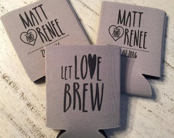 Personalized Wedding Can Coolers - Let Love Brew Wedding Favors - Rehearsal Dinner Favors - Engagement Party Favors - Fall Wedding Decor