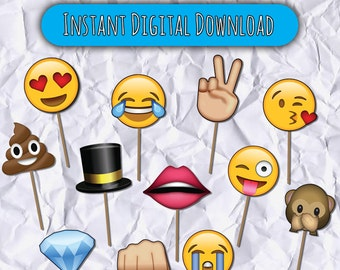 Printable Emojis Photo Booth Props, Emojis, 25 Emojis Digital Photobooth Props,  25 Emojicon, Wedding Props, Emoji Props, Photobooth Props