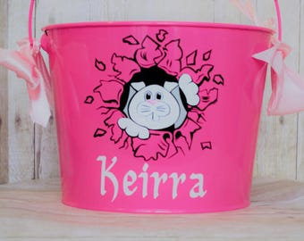 Personalized Easter Bucket- Bunny Peeking out  Easter Bucket- Pink Easter Bucket- Easter Egg Hunt-Easter Sunday-Egg Hunt- Peeking Bunny