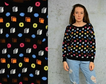 Cookie sweater Geometric doughnut Abstract hipster colored pullover retro Vintage S - M size
