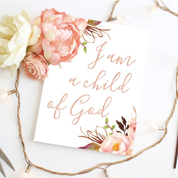I Am A Child of God, Blush Nursery Art Decor, Baby Girl Nursery, Boho Nursery Decor, Boho Nursery, Tribal Nursery, Muted Floral, Rose Gold