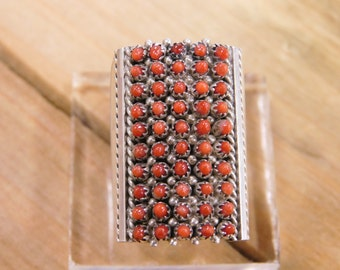 Stunning Coral Zuni Petit Point Ring By Stephen Haloo Size 6.5