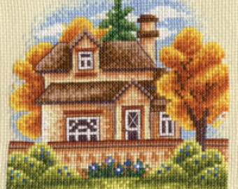 Cross Stitch kit House behind the fence