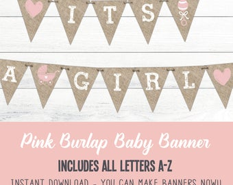 Pink Baby Shower Banners, It's A Girl