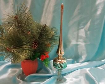 Vintage Christmas tree ornament USSR. Glass steeple on the top of tree
