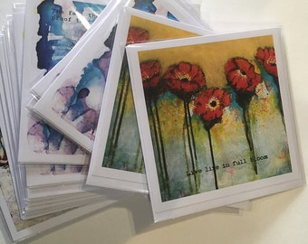 Art Printed Greeting Card, Poppy Card, Poppy Art, Poppies, Blank Note Card, All Occasion Card, Original Art Print, Inspirational Quote Card,