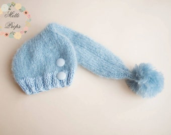 Knitted Mohair and 100% Cotton Long Tail  Hat, Newborn, Baby, Sitter  Photography Prop