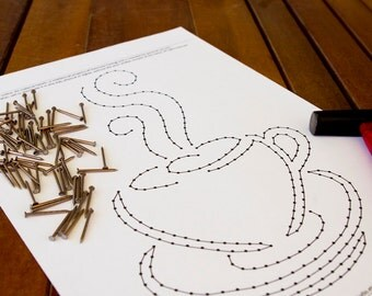 "String art pattern ""Coffee Cup"" 