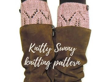 Lace boot cuffs DIY knitting pattern pdf • boho boot cuffs with buttons pattern • Cozy, comfy and cute boot toppers with buttons