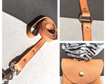 The Tan Leather O Ring Collar/Tan Leather Leash/Tan Leather Bag Holder Combo