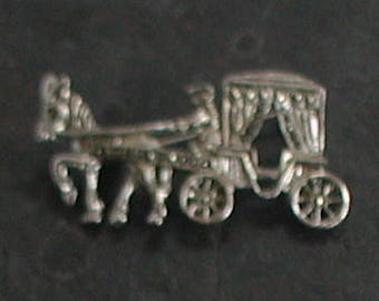 Silver Marcasite Pony Carriage Driver Pin Brooch