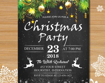 Christmas party invitation, Xmas party, Christmas tree invitation, Rustic winter invitation, Chalkboard christmas invitation  #133