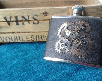Hip Flask 4 fl oz Stainless Steel & Leather in the Style of Steampunk