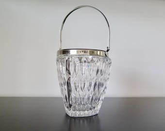 Crystal Ice Bucket, Wine Cooler, with Silver Metal Rim and Handle Bar Cart Accessory Barware