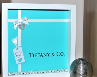 Tiffany & Co inspired Birthday shadow box frame gift 18th 21st 30th 40th etc