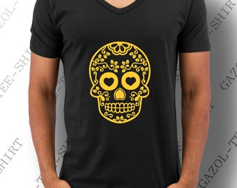 """Mexican Skull"" T-shirt. Fashion yellow-orange skull graphic."