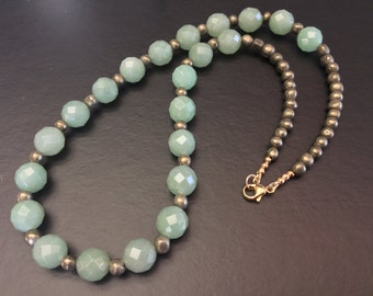 Magical Natural Aventurine 12mm Faceted & Pyrite beads with 14K Gold fill components. Beaded necklace jewerly with Healing Energy.