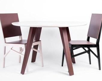 Dining table, round table, round dining table, round kitchen table, ash wood table, design, veneered ash wood table