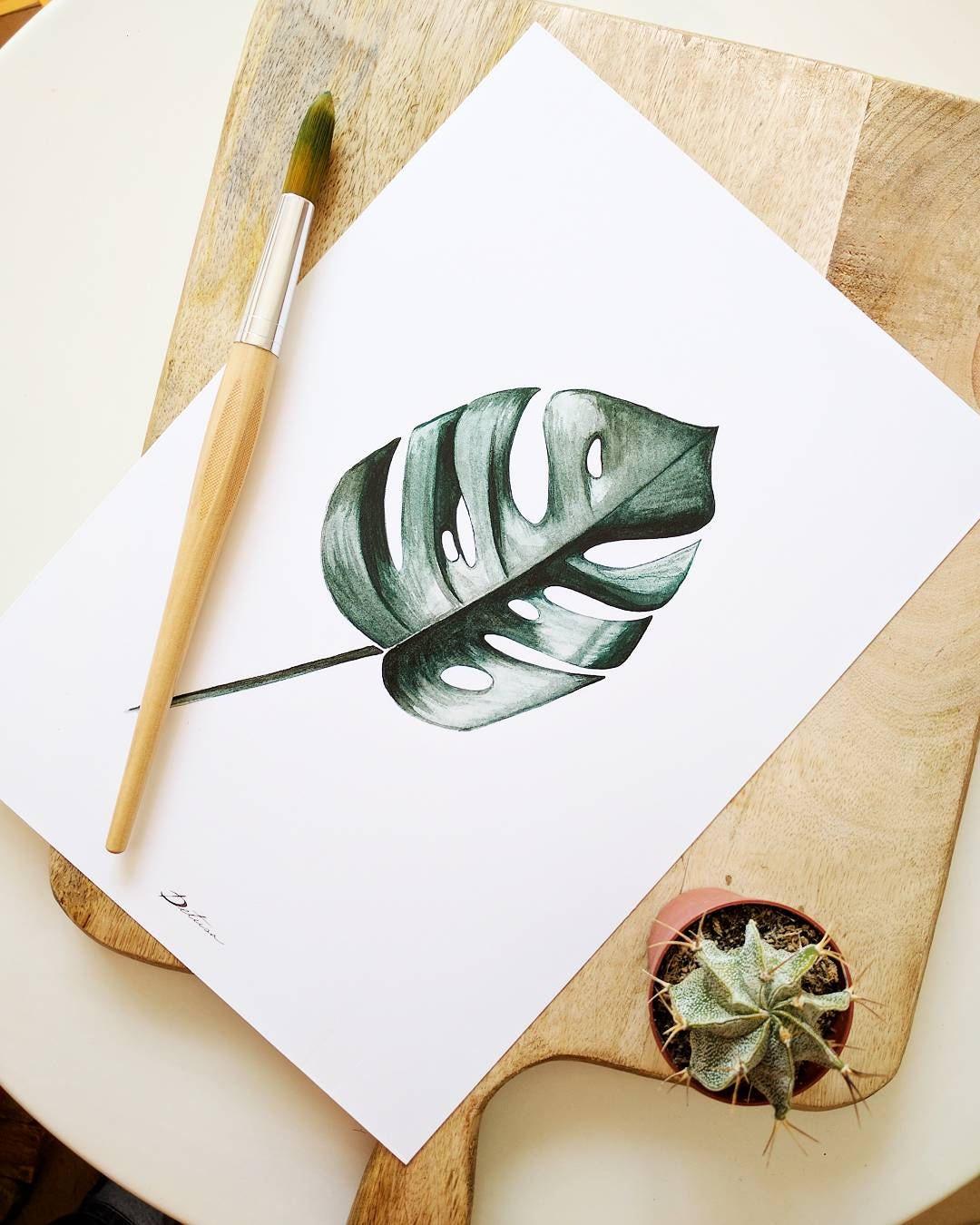 Pinturas en acuarela hojas tropicales tonalidades - Hojas de decoracion ...