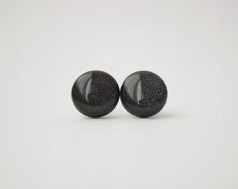 Black Stud Earrings - BLACK PEARL - black earrings - Surgical steel posts.