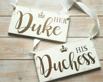 Her Duke , his duchess chair signs mr and mrs wood sign , chair signs , wedding signs , wedding decor