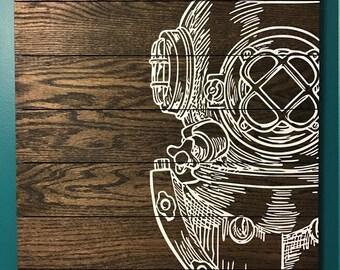 Handmade Vintage Scuba Diver Art on Oak