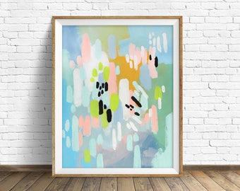 """colorful abstract wall art, large abstract wall art, pastel, abstract painting, instant download printable art, prints - """"Lifted Spirits"""""""