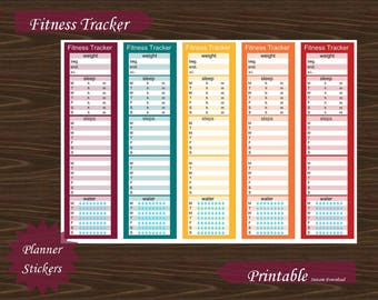 Sidebar Fitness Exercise Water Steps Sleep Weight Tracker Erin Condren Planner Printable Instant Download #P018-2