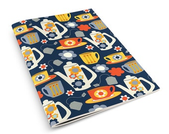 Tea Love A5 Notebook Sketchbook Retro Kitchen