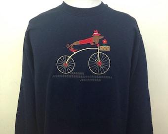 Weiner Dog on Bicycle Applique Sweatshirt