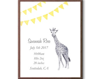 Personalized Baby Birth Stats, Watercolor Giraffe Print, Banana, Newborn Birth Stats, Nursery Art, G1006