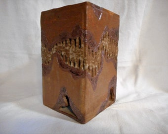 Art Pottery Pierced Cube Sculpture Stand Sgrafitto Earthy Glaze Signed