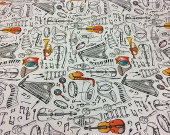 Musical instruments fabric, horns fabric, drums fabric, piano fabric, violin fabric, novelty fabric
