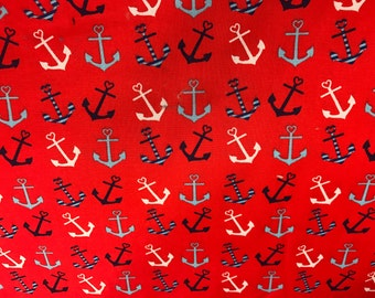 Red nautical anchors fabric, under the sea fabric, nautical fabric, seaside, ocean, the sea
