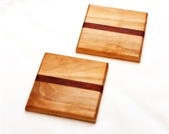 Square Wooden Coasters featuring Brown Maple & Padauk Wood
