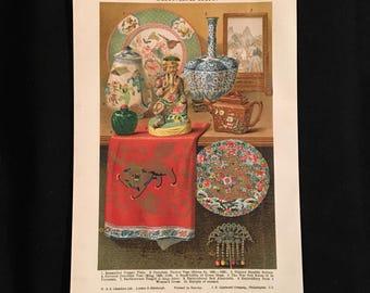 Chinese Art - Original Vintage Print,  Antique Color Lithograph, Natural History Print