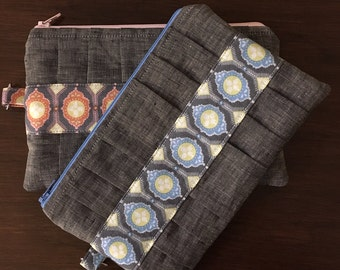 Charcoal Linen and Medallion Pleated Clutch